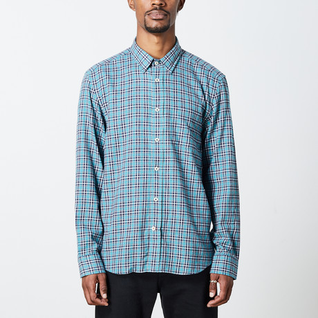 Men's Long Sleeve Plaid Woven Top // Turquoise + White (S)