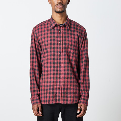 Men's Long Sleeve Plaid Woven Top // Red + Black (S)