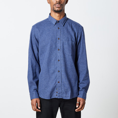 Men's Solid Woven Top // Denim Blue (S)