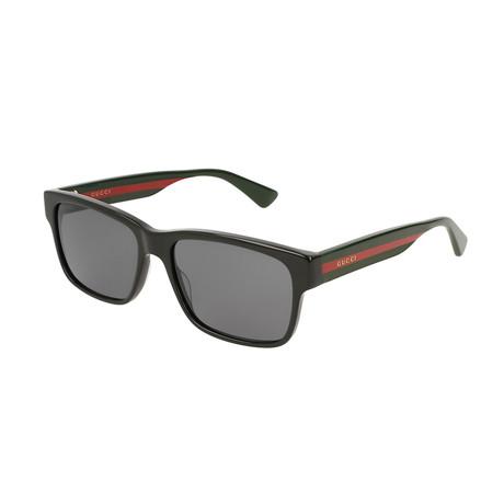 Men's Sylvie & Web Rectangular Sunglasses // Green + Red