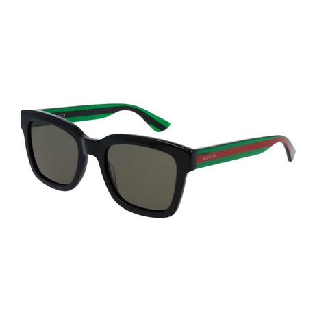 Men's Web Rectangular Sunglasses I // Green + Red