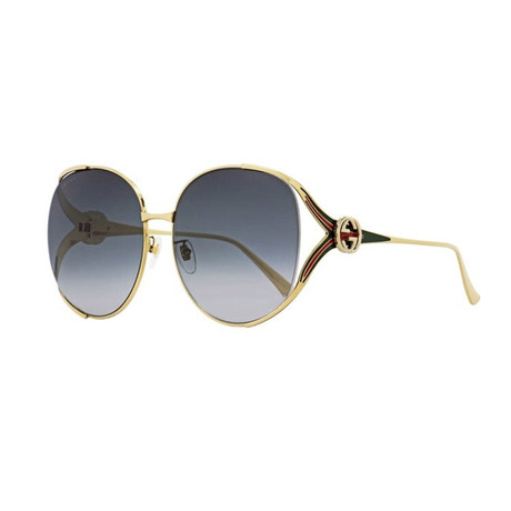 Women's GG Web Oversized Opal Sunglasses I // Gold