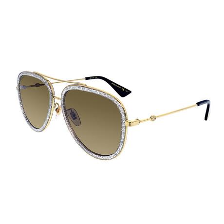 Men's Crystal Pilot Aviator Sunglasses // Gold