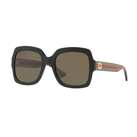 Women's Web Rectangular Sunglasses // Green