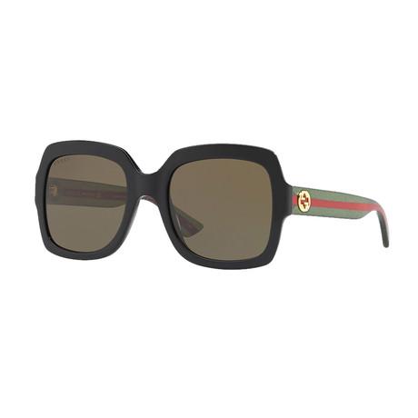 Women's Web Rectangular Sunglasses // Green