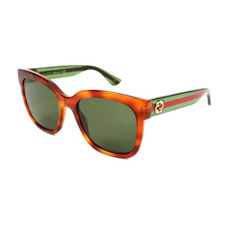 Men's Web Rectangular Sunglasses III // Green + Red