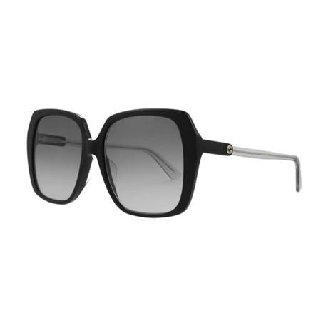 Women's GG Oversized Sunglasses // Black + Silver