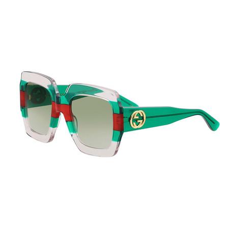 Women's GG Web Oversized Rectangular Sunglasses // Green + Red