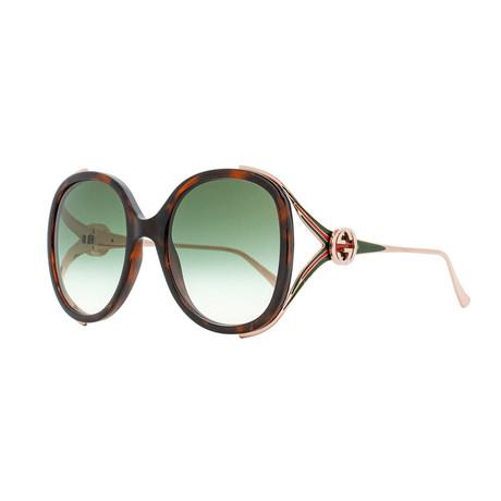 Women's GG Web Oversized Opal Sunglasses // Havana Brown