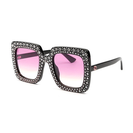 Women's Oversized Swarovski Crystal Sunglasses // Black