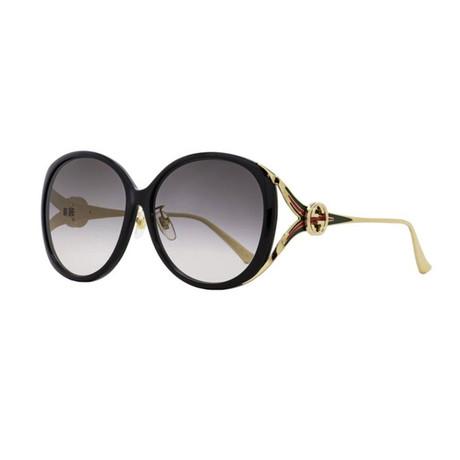 Women's GG Web Oversized Opal Sunglasses II // Gold