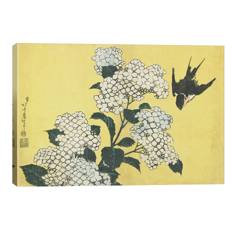 "Hydrangea And Swallow, C.1832 (18""W x 12""H x 0.75""D)"