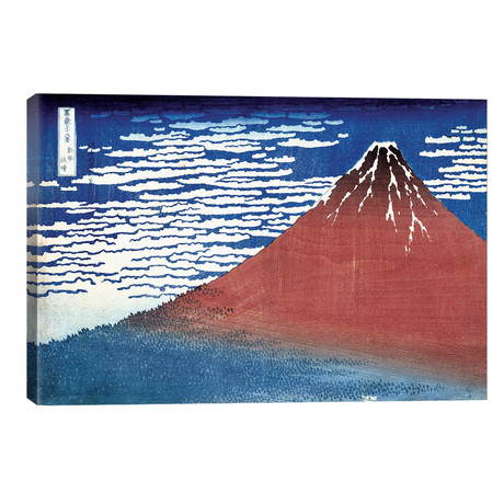 """Fine Wind, Clear Morning (Red Fuji) C.1830-32 (Musee Claude Monet) (18""""W x 12""""H x 0.75""""D)"""