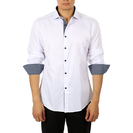 Leon Long-Sleeve Button-Up Shirt // White (S)