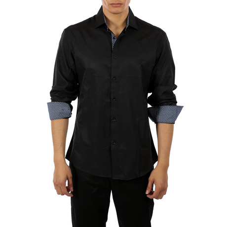 Leon Long-Sleeve Button-Up Shirt // Black (S)