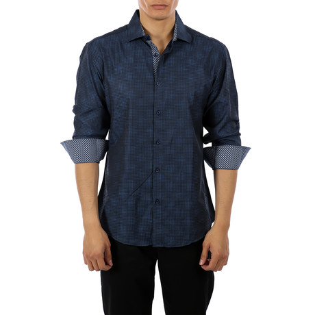 Leon Long-Sleeve Button-Up Shirt // Navy (S)