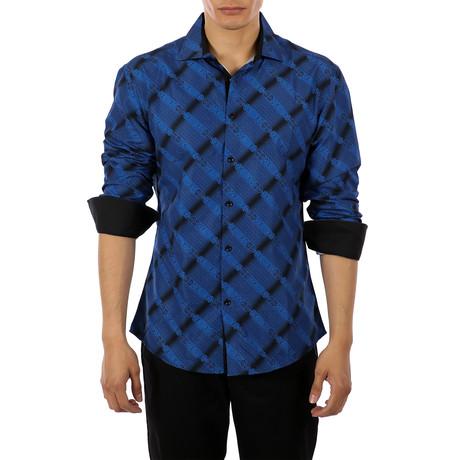 Ross Long-Sleeve Button-Up Shirt // Navy (S)