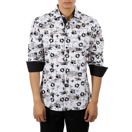 Paul Long-Sleeve Button-Up Shirt // White (S)