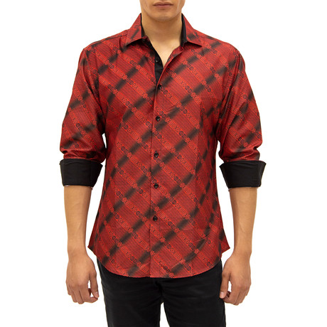 Ross Long-Sleeve Button-Up Shirt // Red (S)
