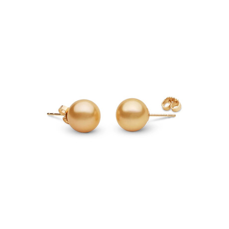 Golden South Sea Pearl Earrings // 10.0-11.0mm AAA (14K White Gold)