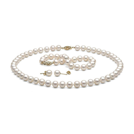 "18"" White Freshwater Pearl Jewelry Set // 7.5-8.0mm AAA (14K White Gold)"