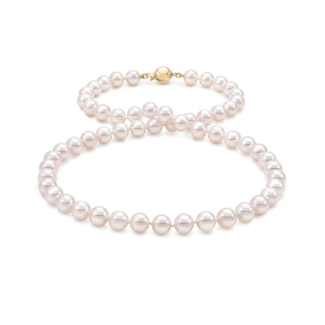 "18"" Akoya Pearl Necklace // 7.0-7.5mm AA+ (14K White Gold Clasp)"