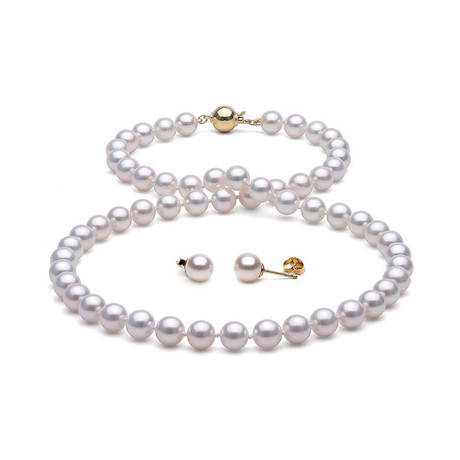 "18"" Akoya Pearl Necklace + Earrings // 7.0-7.5mm (14K White Gold Clasp)"
