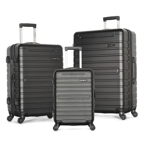 Lancer 3-Piece Hardcase Luggage Set (Black)