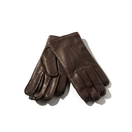 Deerskin + Cashmere Gloves // Dark Brown (Size: 8 Small)