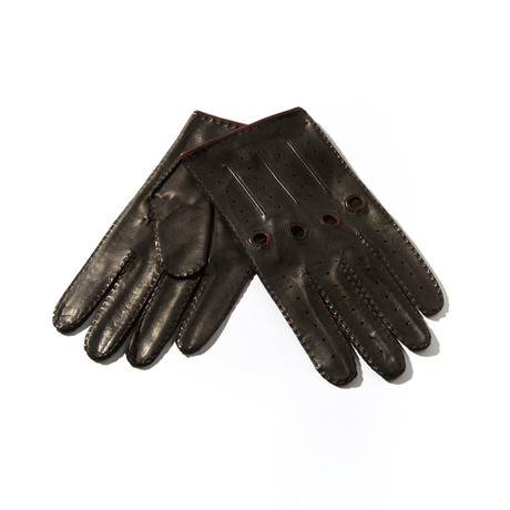 Leather Gloves // Black + Bordeaux (Size: 8 Small)