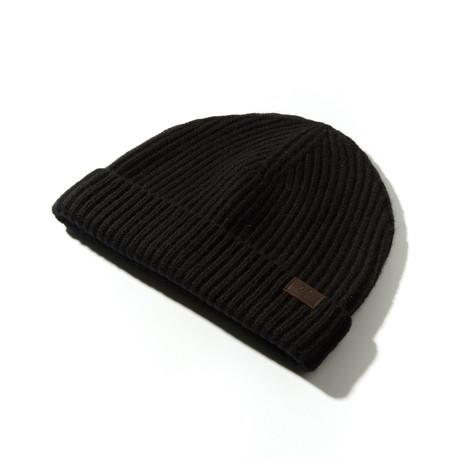 Cashmere Cardigan Stitch Hat // Black