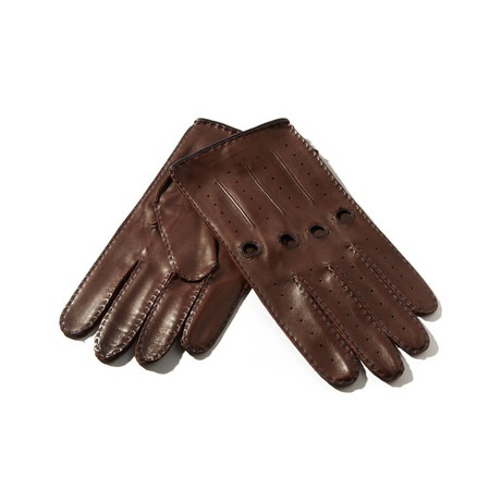 Leather Gloves // Brown + Navy (Size: 8 Small)