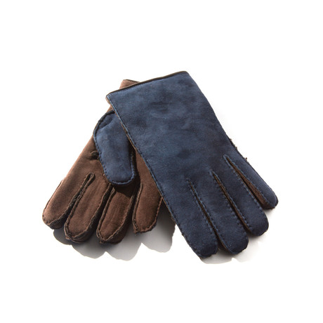 Leather + Shearling Gloves // Navy + Brown (Size: 8 Small)