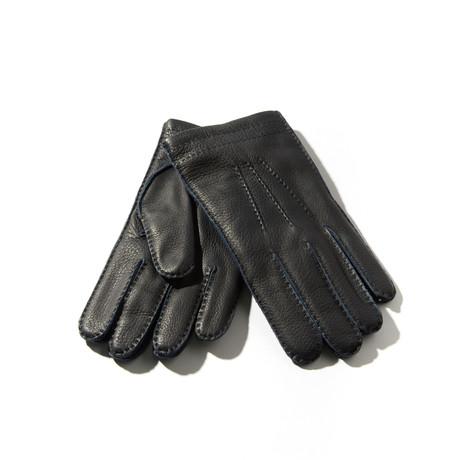 Deerskin + Cashmere Gloves // Dark Navy (Size: 8 Small)