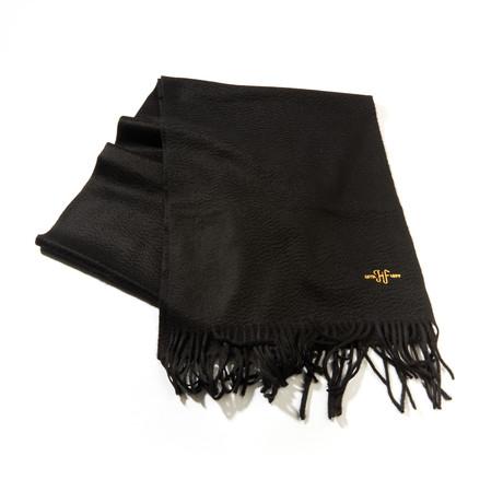 Cashmere Solid Waterweave Scarf // Black