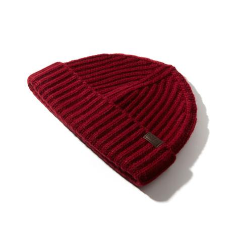 Cashmere Cardigan Stitch Hat V1 // Bordeaux