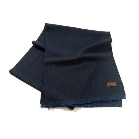 Merino Wool Herringbone Scarf // Navy + Black