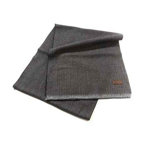 Merino Wool Herringbone Scarf // Gray + Black