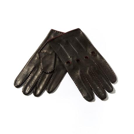 Leather Gloves // Black + Bordeaux (Size: 9 Large)