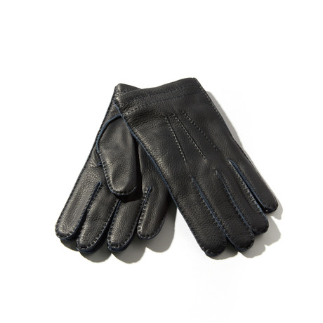 Deerskin + Cashmere Gloves // Dark Navy (Size: 9 Large)