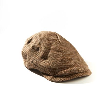 Camel Hair Mixed Herringbone Ivy Hat // Tan + Brown (Size: S/M)