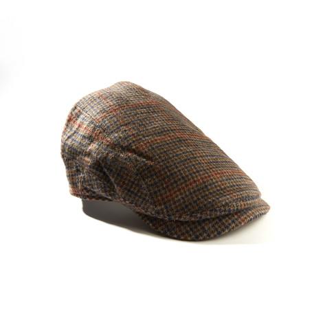 Camel Hair Herringbone Plaid Ivy Hat // Brown + Navy (Size: S/M)