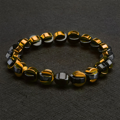 Two-Tone Half Loop Hematite Beaded Bracelet // Gold + Gray