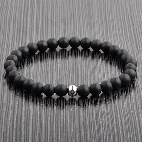 Matte Onyx Stone + Stainless Steel Beaded Bracelet // Black + Silver