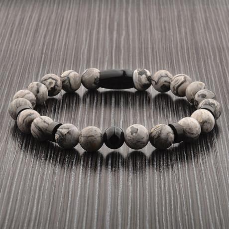 Jasper Stone + Stainless Steel Beaded Bracelet // Black + Gray