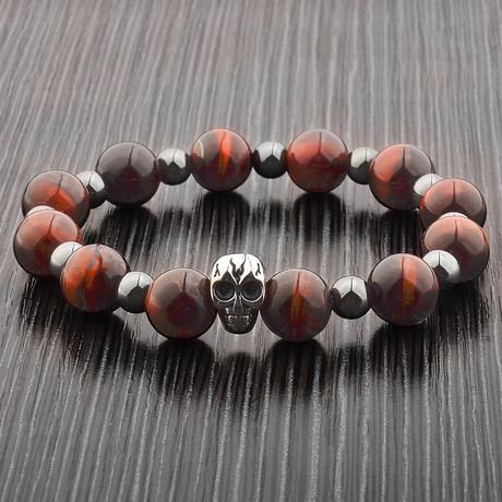 Red Tiger's Eye + Hematite + Stainless Steel Beaded Bracelet // Red + Gray + Silver
