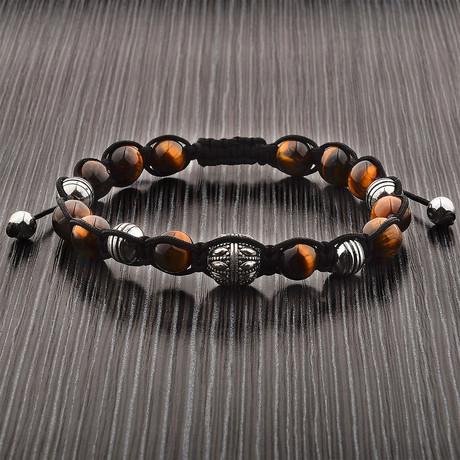 Tiger Eye Stone + Stainless Steel Beaded Bracelet // Brown + Silver