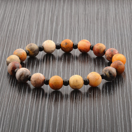 Crazy Lace Agate Stone Beaded Bracelet // Black + Brown