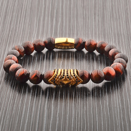 Tiger Eye Stone + Stainless Steel Accent Beaded Bracelet // Black + Gold + Red