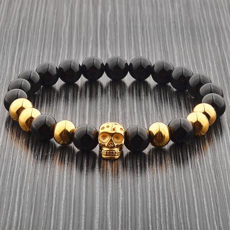 Onyx Stone + Stainless Steel Skull Beaded Bracelet // Black + Gold